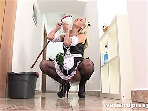 horny maid in stocking looks wondrous urinating