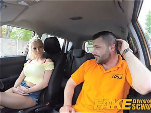 fake Driving college hefty bumpers blond gets pummeled