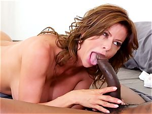 huge-chested girl rides massive meatpipe