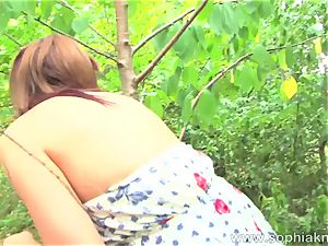 Sophia Knight fuck stick drill in the thicket outdoor