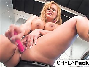 Shyla gives you a handsome unclothe and solo