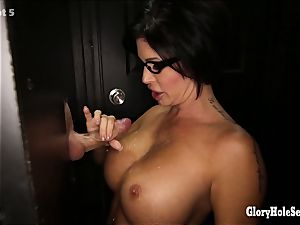 massive boobed cougar Shay inhales off strangers at gloryhole