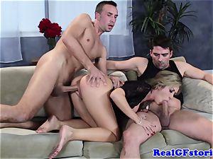hot blondie huge-boobed mummy 3some drill