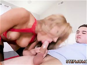 gigantic boob cougar catches and ginger-haired 3some hardcore steamy mummy romped Delivery boy