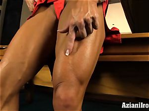 horny fit women uses fuck stick on fat pleasure button