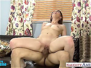 super-naughty Nickey Huntsman tongued out before inhaling and ravaging