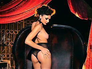 slender puny Ariana Marie wondrous rubber solo masturbation