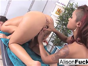 splendid skin uses her thumbs and gullet to massage Alison
