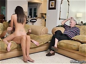 Ball teasing handjob hard-core railing the senior man-meat!