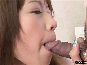 cool whore takes a stiff weenie deep in her cooch