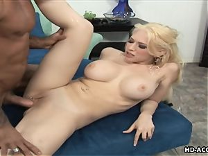 Smoking sizzling blonde with gigantic hooters gets plowed hard