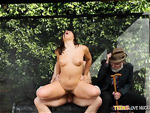 jokey situation of muff jammed daughter and her grandfather watches at bus stop - Abella Danger and Bill Bailey