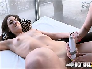 super-fucking-hot Angel Wicky uses 2 vibros on Miky enjoy in Public