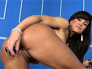 beautiful Lisa Ann sticks her fake penis deep in her humid muff