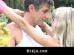 Gina Gerson gets ass-fuck from an old fellow
