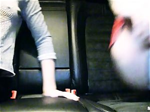 cute Lola Taylor gets succulent tearing up on the back seat