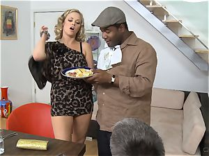 Frustrated wife Katie Kox gets torn up on a table in front of her guy