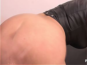 German cow in black leather
