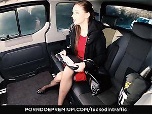 poked IN TRAFFIC Tina Kay footjob in the backseat