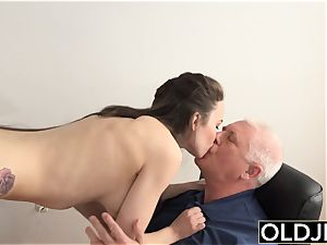female pummeled by aged dude Office deep-throat blowage