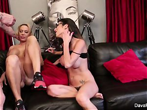 pov blowing and pulverizing with Dava Foxx and Alyssa Lynn