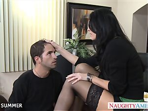 Stockinged India Summer drilling on the desk