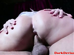 Subdued wrapped squirter gets harshly screwed