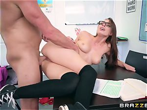 Impudent professor smashes his unruly pupil Aidra Fox during the test