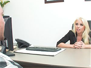 lucky boy tears up boss Britney during his job interview