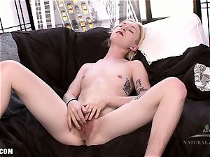 Ivy touches her hairy engorged clit
