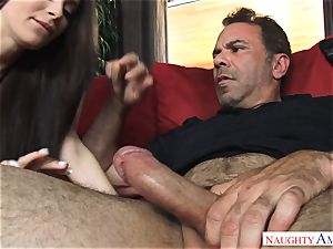 Lana Rhoades getting poked by a large knob
