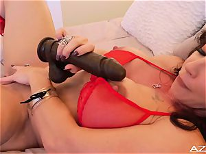fitness mommy mummy climaxes WITH phat black fake penis