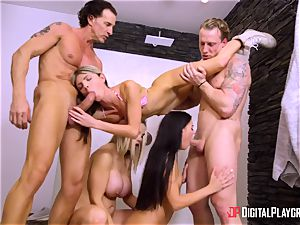 outstanding gang lovemaking with Eveline Dellai, Gina Gerson and their mentors