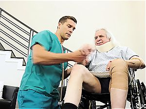 big-titted platinum-blonde tears up a masculine nurse in front of her sugardaddy