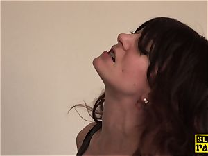 squirting british stunner fingered in raw snatch