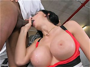 fabulous Aletta Ocean plays with a dark-hued salami in her slippery super-hot gullet