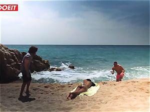 LETSDOEIT - molten black nubile banged rock-hard At The Beach