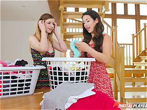vulva touching super-cute Eva Lovia and Stella Cox messing in the laundry