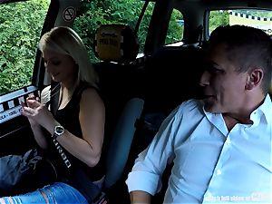 Strangers Voyeurs eyeing Czech taxi car in action