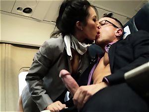 Asa Akira and her hostess pals drill on flight