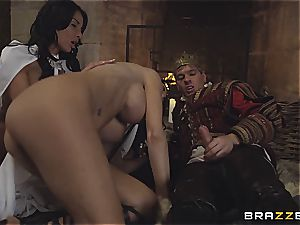Alluring Anissa Kate and Jasmine Jae conform the king's will and man sausage